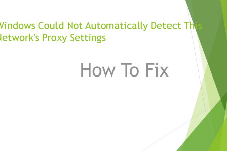 How to fix Windows Could Not Automatically Detect This Network's Proxy Settings error Infographic