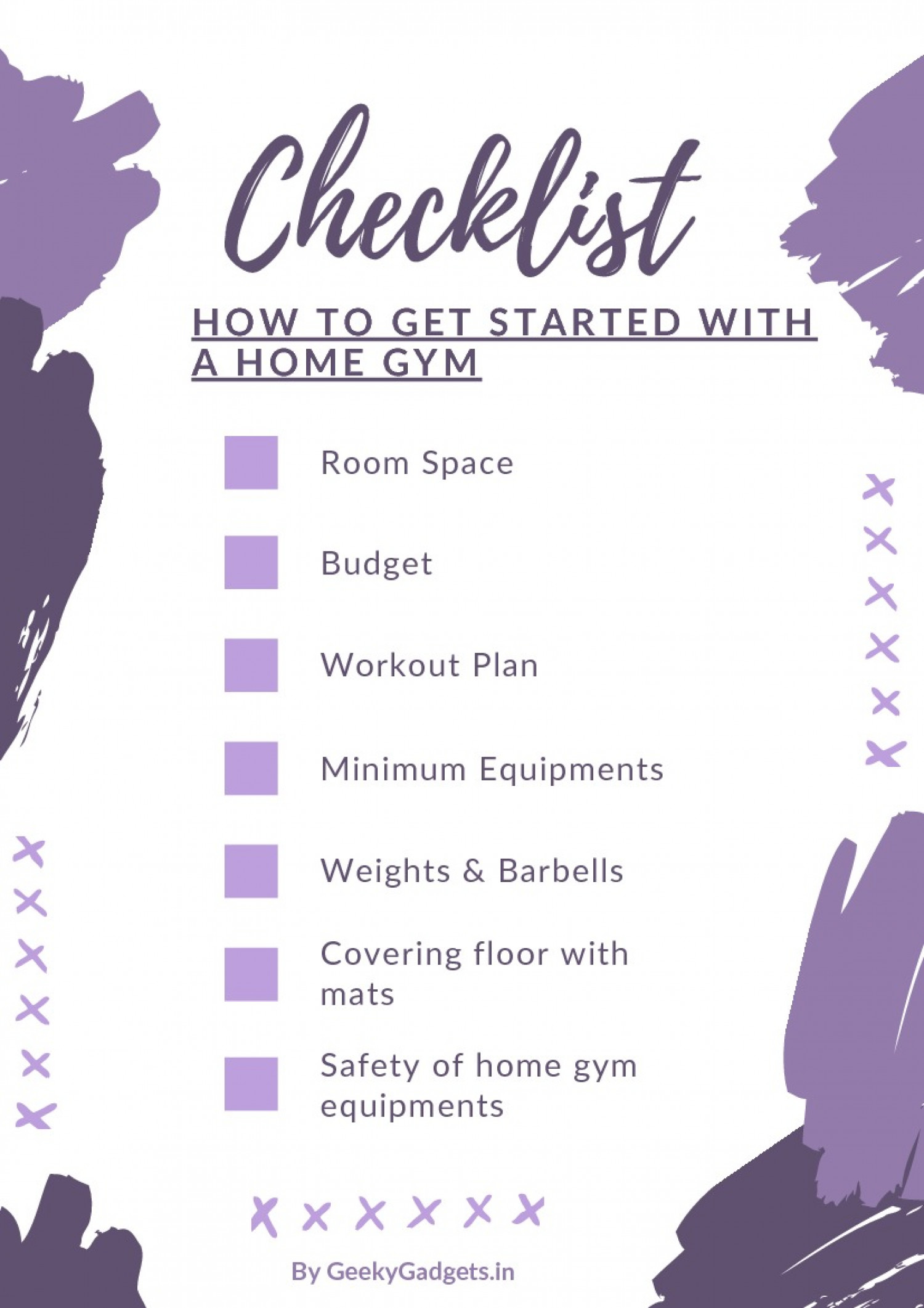 How to Get Started With a Home Gym: Checklist Infographic