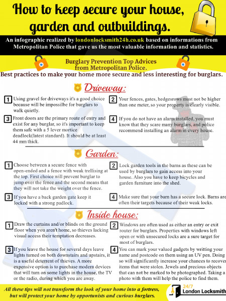 How to keep secure your house, garden and outbuildings. Infographic