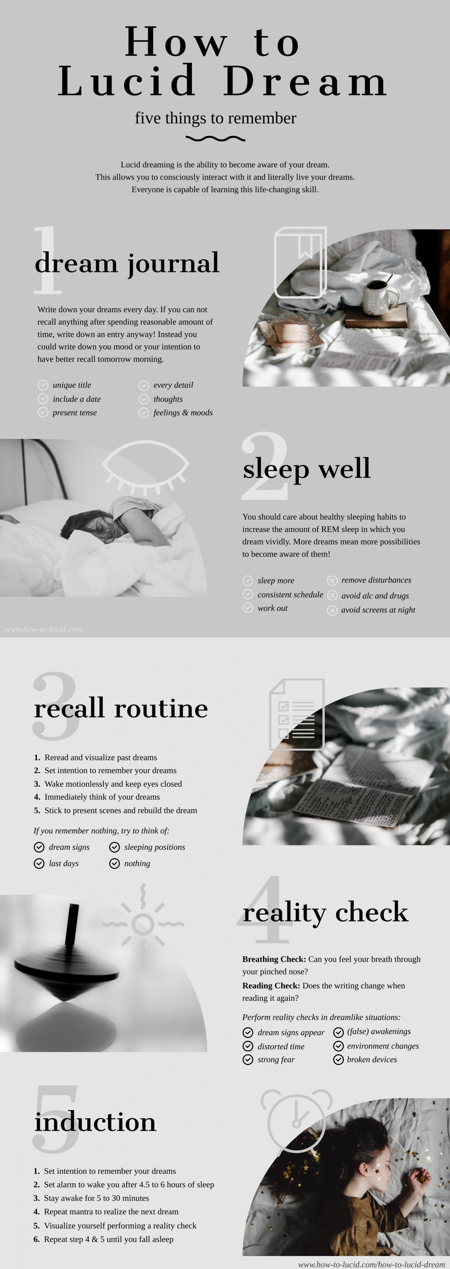 How to Lucid Dream -  Five Things to Remember Infographic