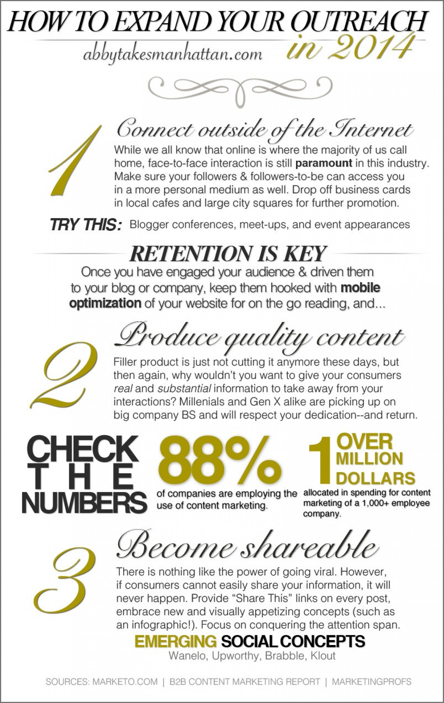 How To Market Yourself and Expand Your Outreach in 2014 Infographic