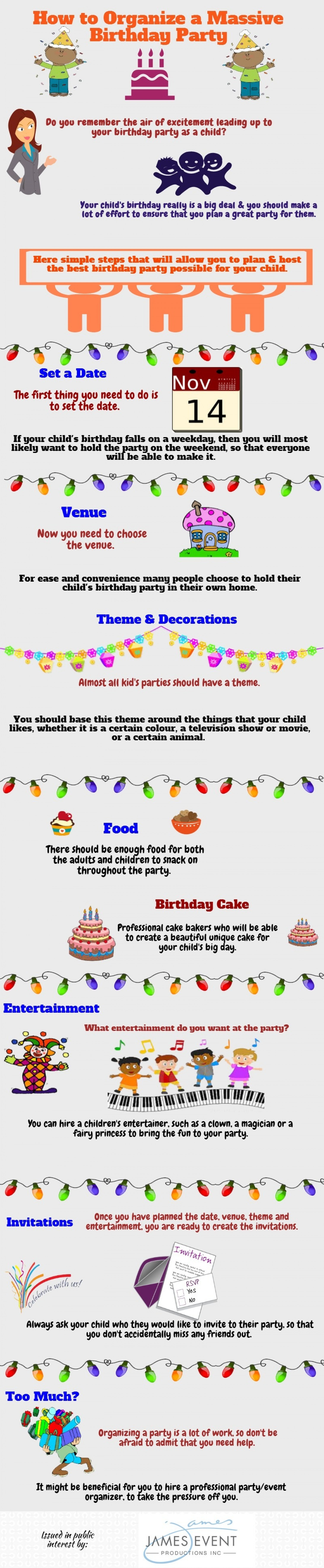 How to Organize a Massive Birthday Party Infographic