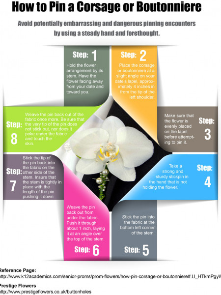 How to Pin a Corsage or Boutonniere Infographic