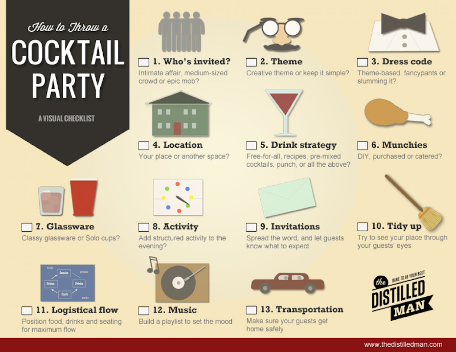 How to Plan the Perfect Cocktail Party: A Visual Guide Infographic