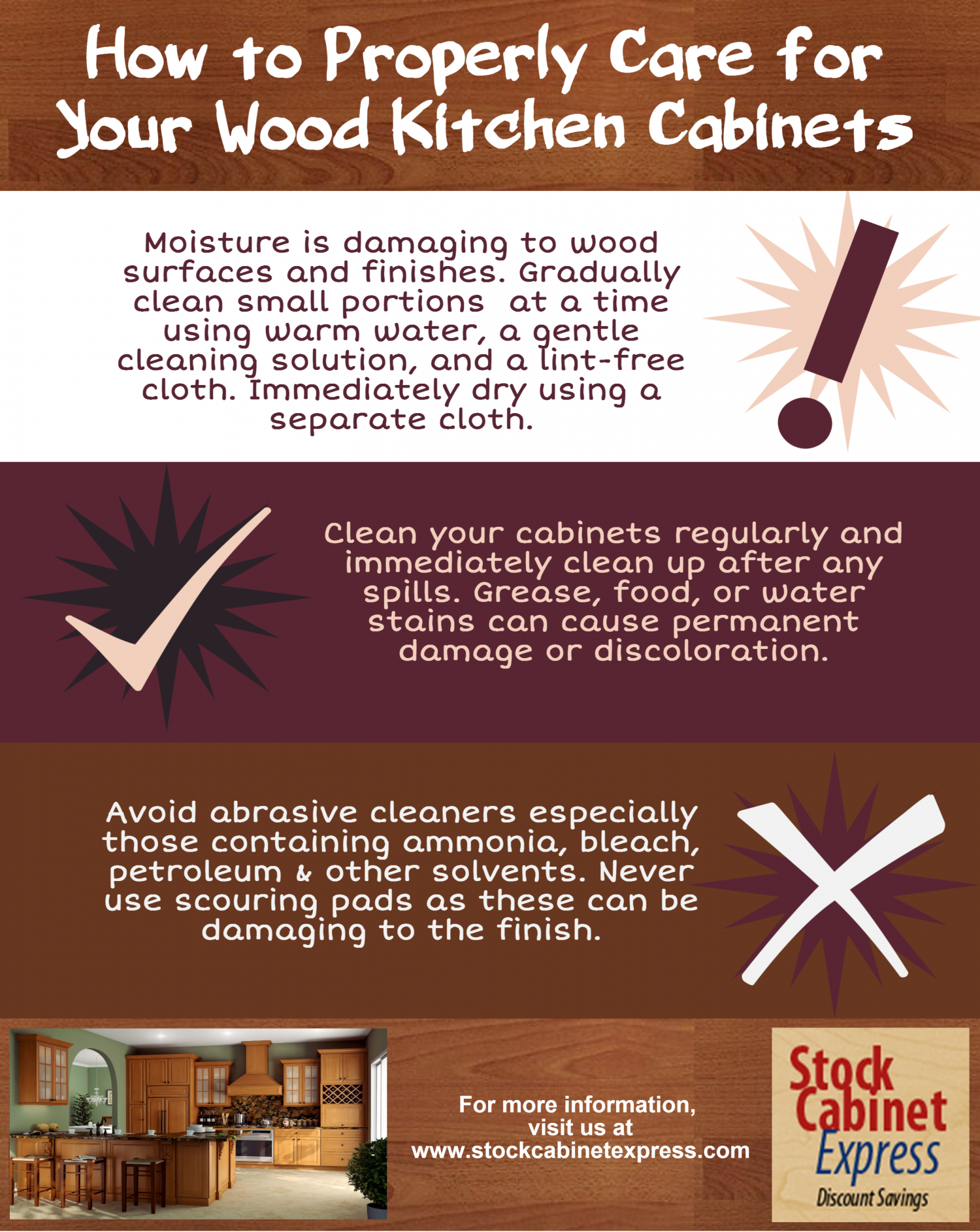 How to Properly Care for Your Kitchen Cabinets Infographic