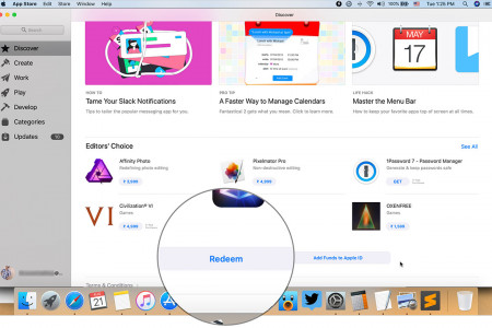 How to redeem a promo code/gift card in the Mac App Store Infographic