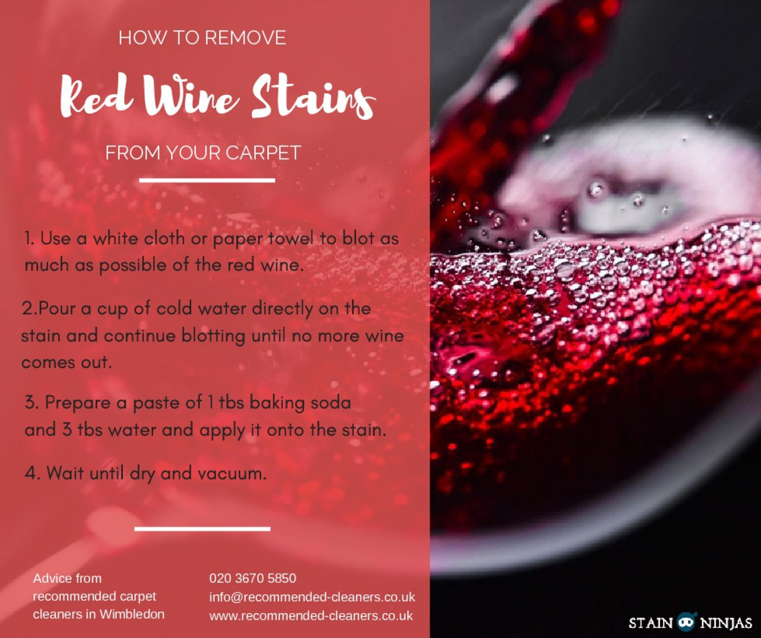 How to remove red wine stains from your carpet Infographic