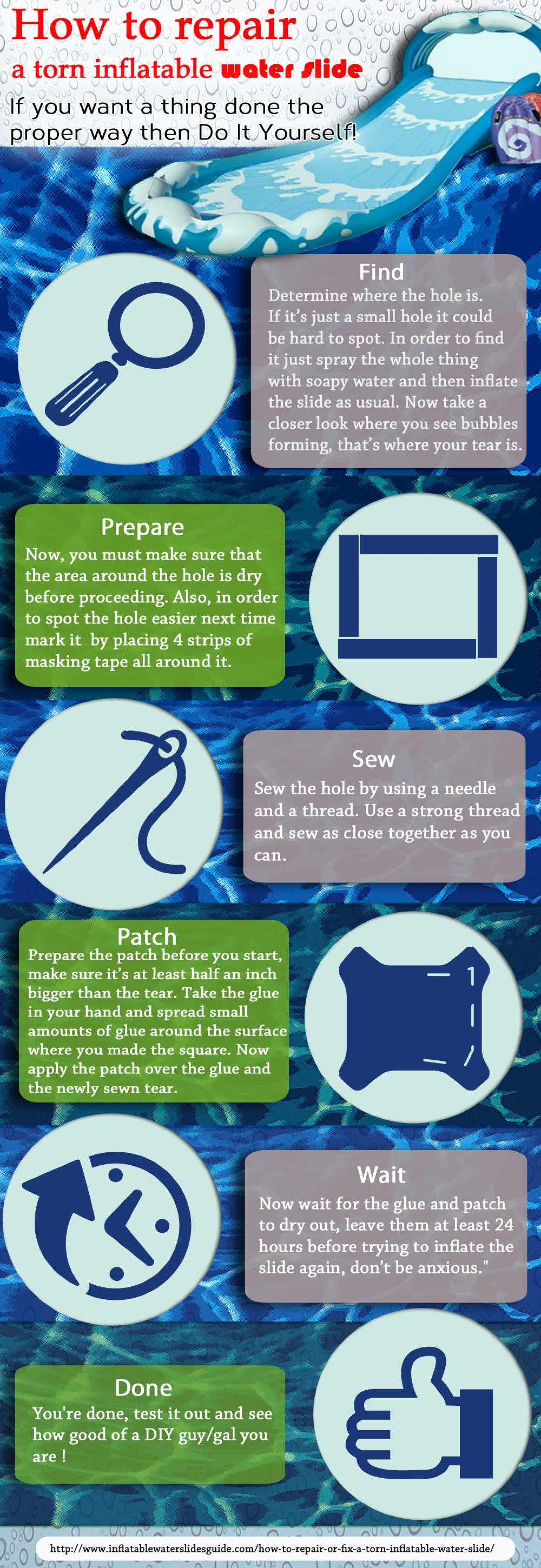 How to Repair A Torn Inflatable Water Slide Infographic