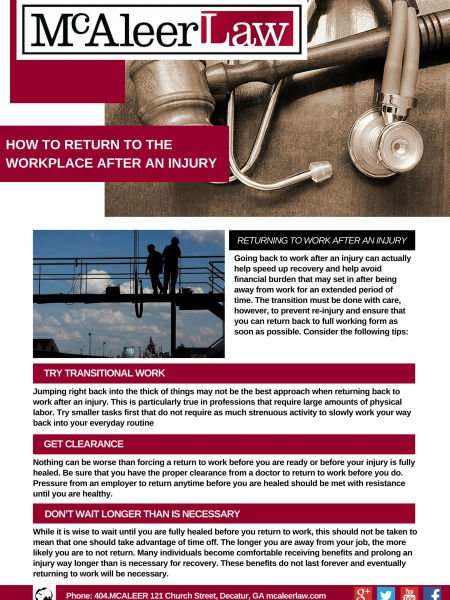 How To Return to the Workplace After an Injury Infographic