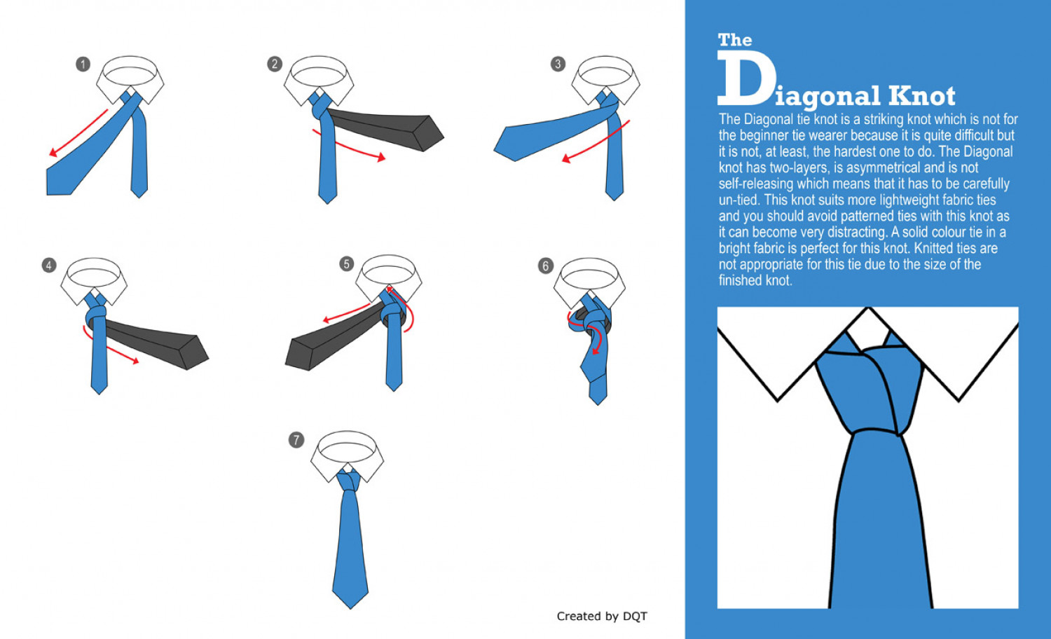 How to Tie a Diagonal Knot Infographic