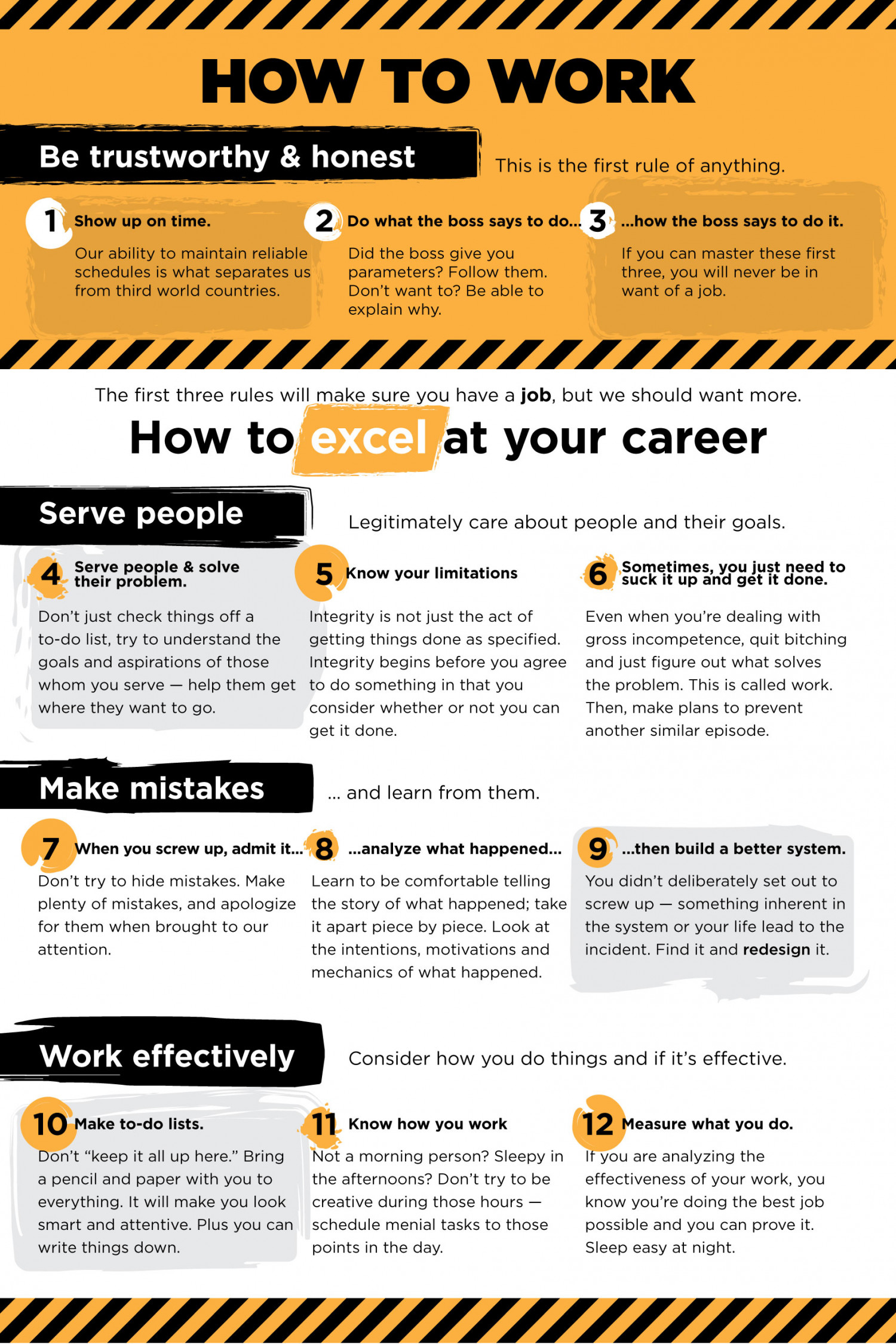 the 12 rules of work visual ly the 12 rules of work infographic