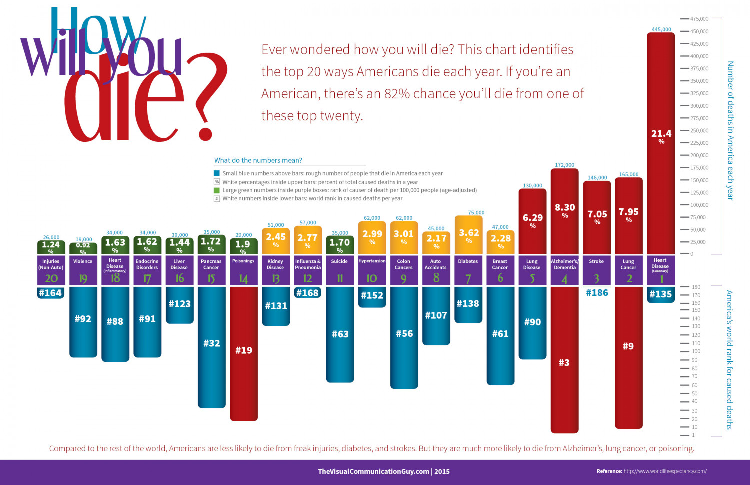 How Will You Die? Top 20 Leading Causes of Death in America Infographic