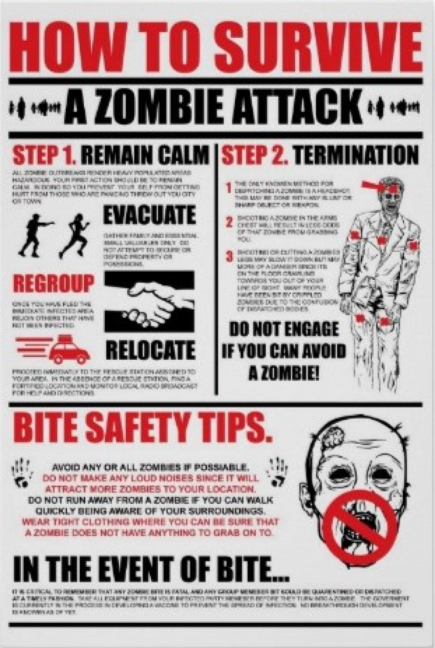 how survive zombie attack Infographic