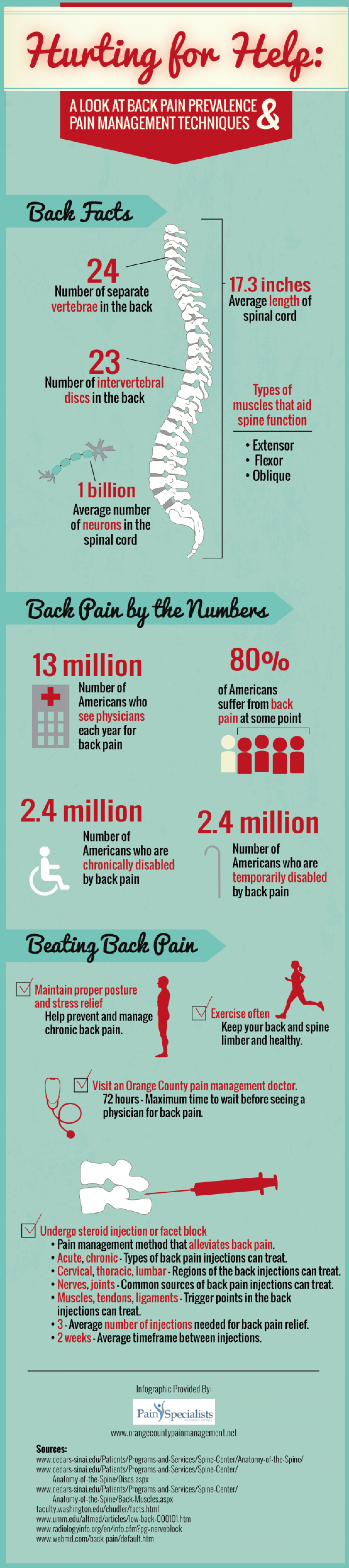 Hurting for Help: A Look at Back Pain Prevalence and Pain Management Techniques Infographic