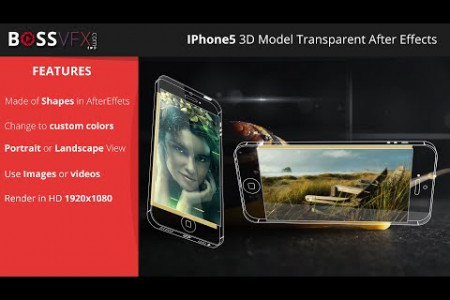 iPhone 5 3D Model Transparent - After Effects  Infographic
