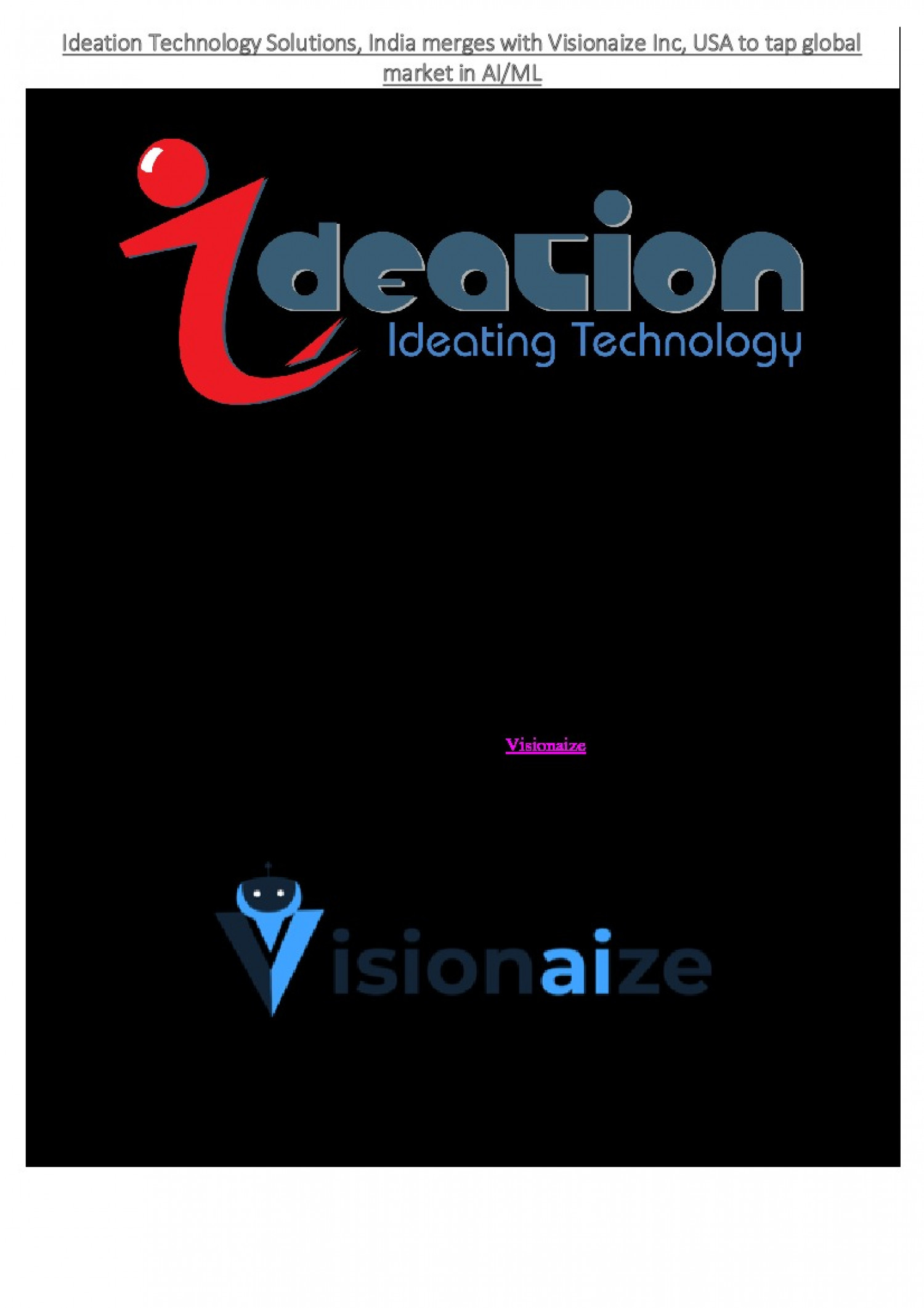 Ideation Technology Solutions, India merges with Visionaize Inc, USA to tap global market in AI/ML Infographic
