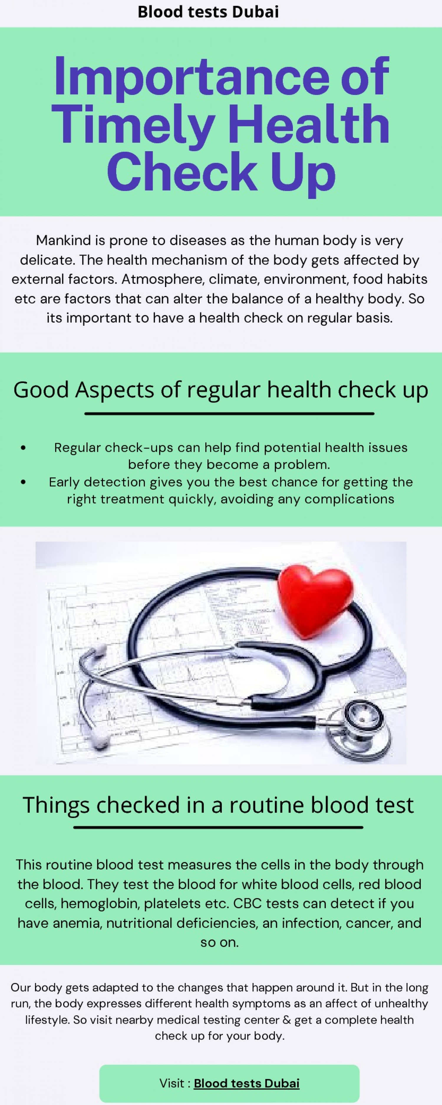 Importance of Timely Health Check Up Infographic