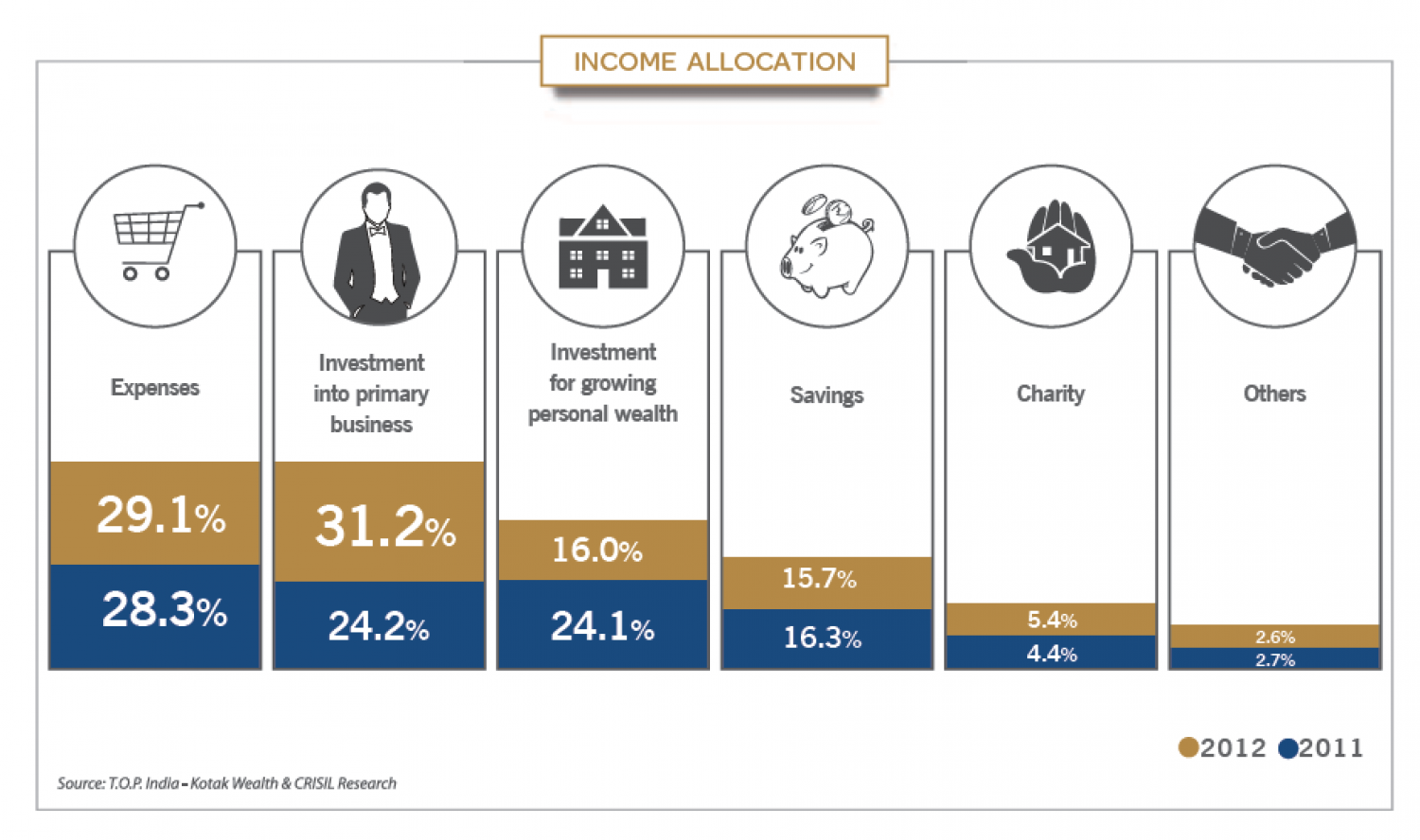 Income Allocation of HNIs in India Infographic
