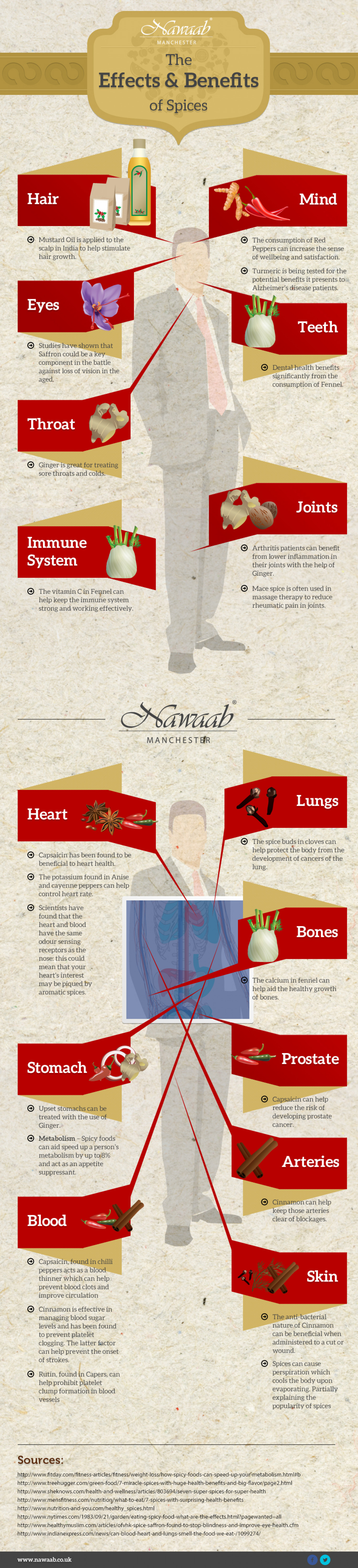 Indian Restaurant reveals the full Effects and Benefits of Spices in Food Infographic