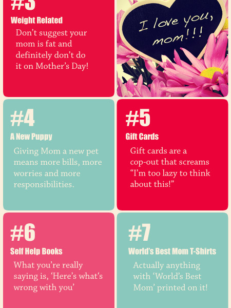 HEY MOM, WHAT WOULD YOU NOT WANT FOR MOTHERS DAY Infographic