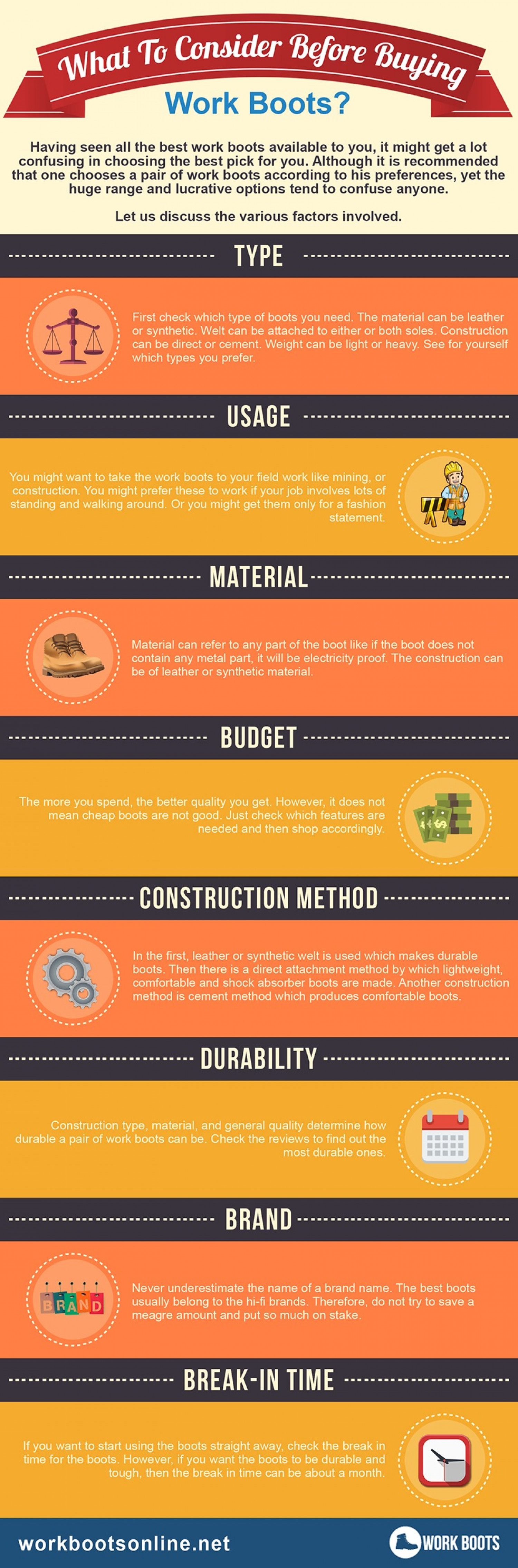 Infographic] What To Consider Before Buying Work Boots? | Visual.ly
