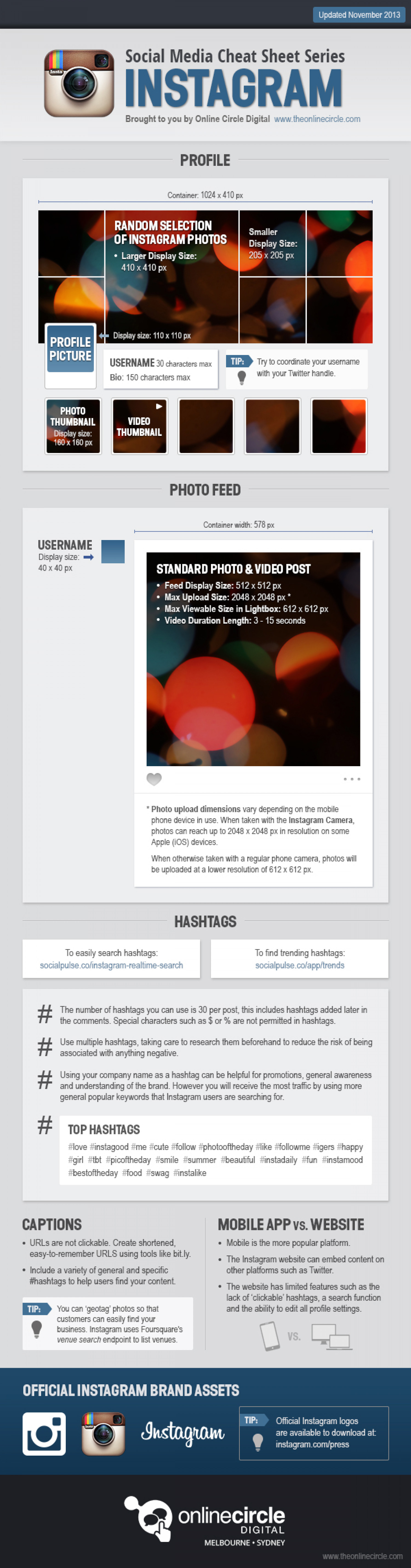 Instagram Sizes and Dimensions Cheat Sheet 2013 Infographic