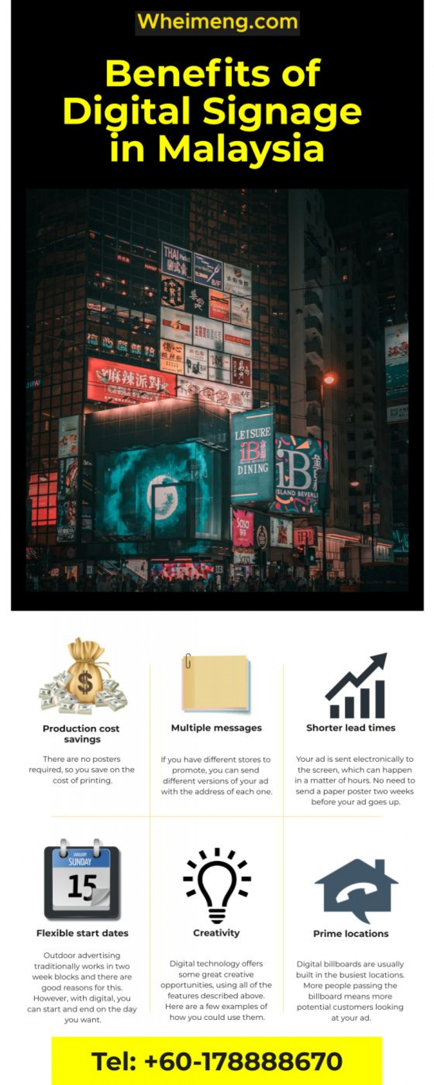 Introducing Low Cost Digital Billboard Advertising in Malaysia Infographic
