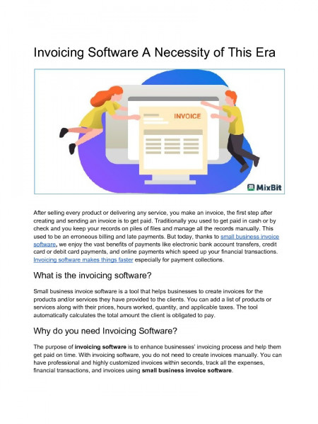 Invoicing Software A Necessity of This Era Infographic
