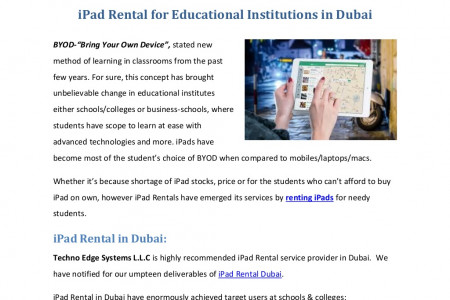 iPad Rental for Educational Institutions in Dubai Infographic