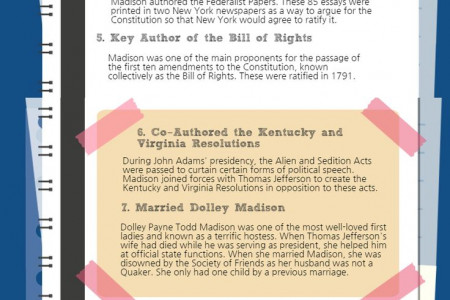 James Madison, Fourth American President (1809-1817) Infographic