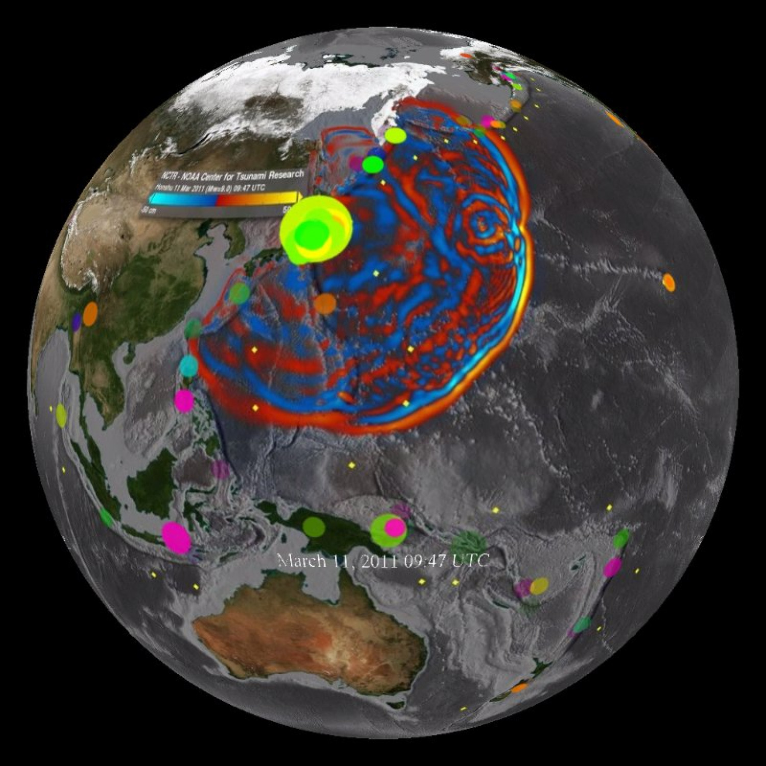 Japan Tsunami Wave Propagation and Combo, March 11, 2011 Infographic