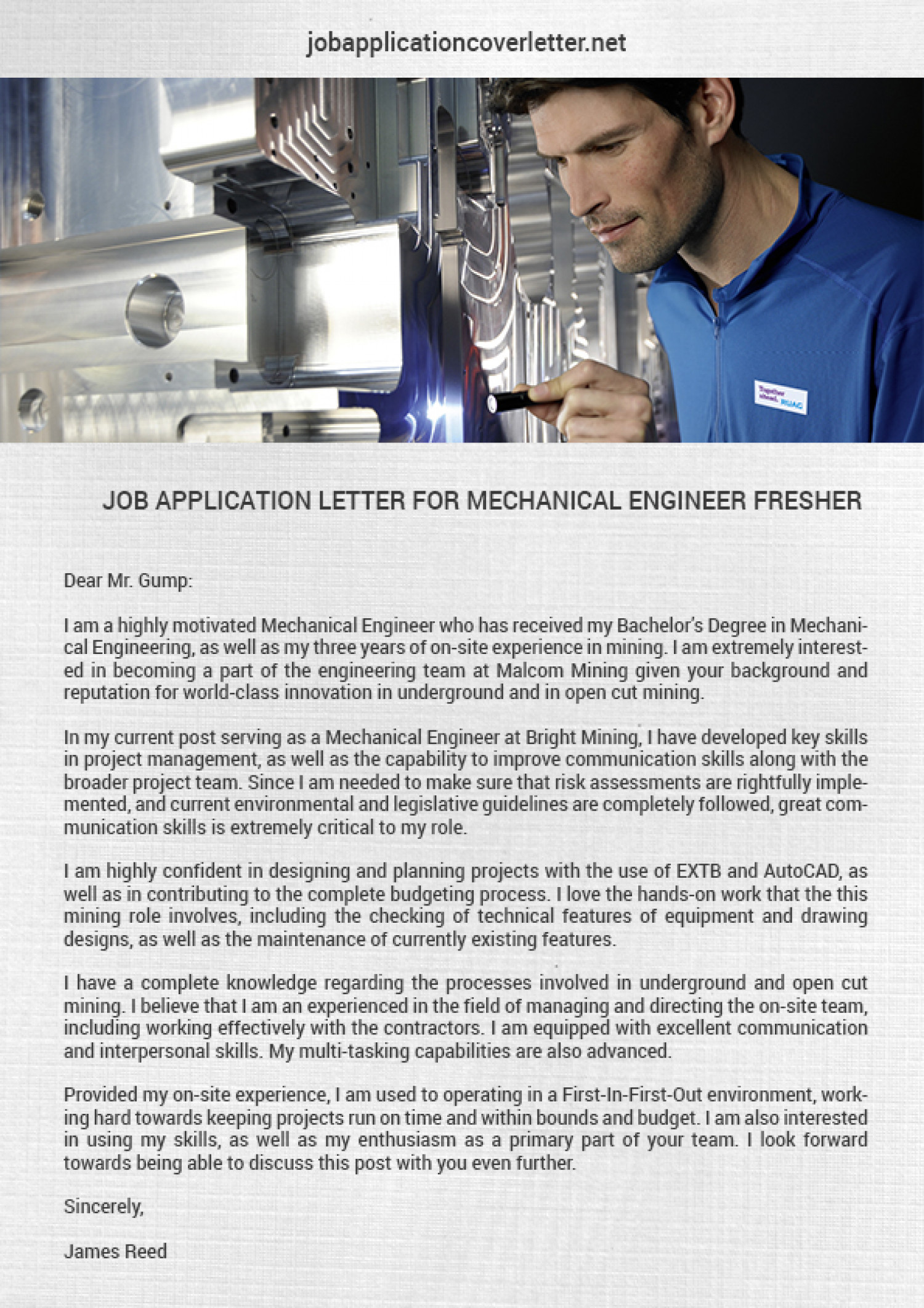 Job Application Letter Sample For Mechanical Engineer Fresher