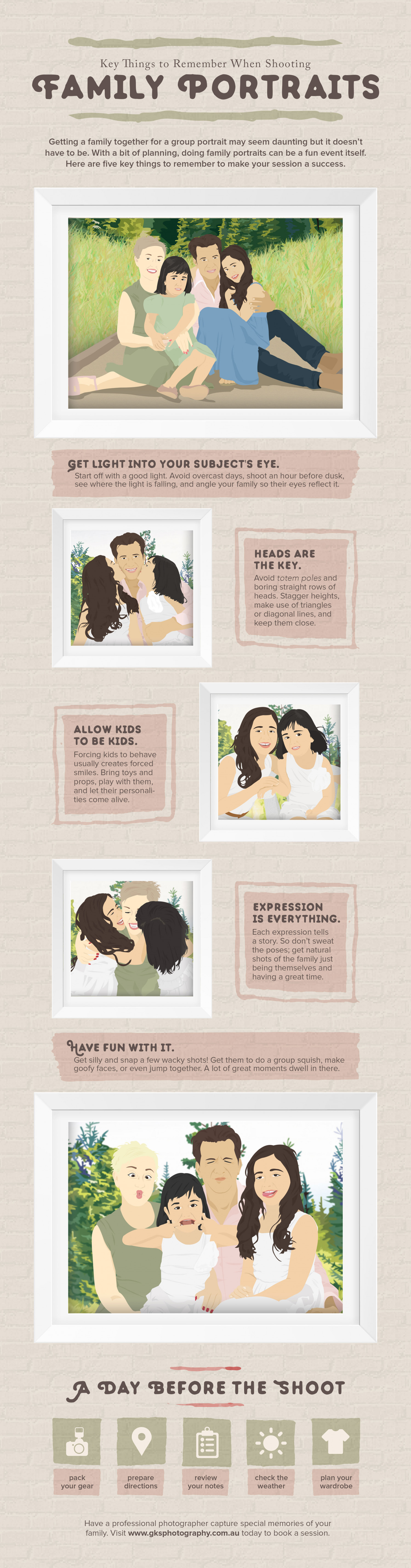 Key Things to Remember When Shooting Family Portraits Infographic