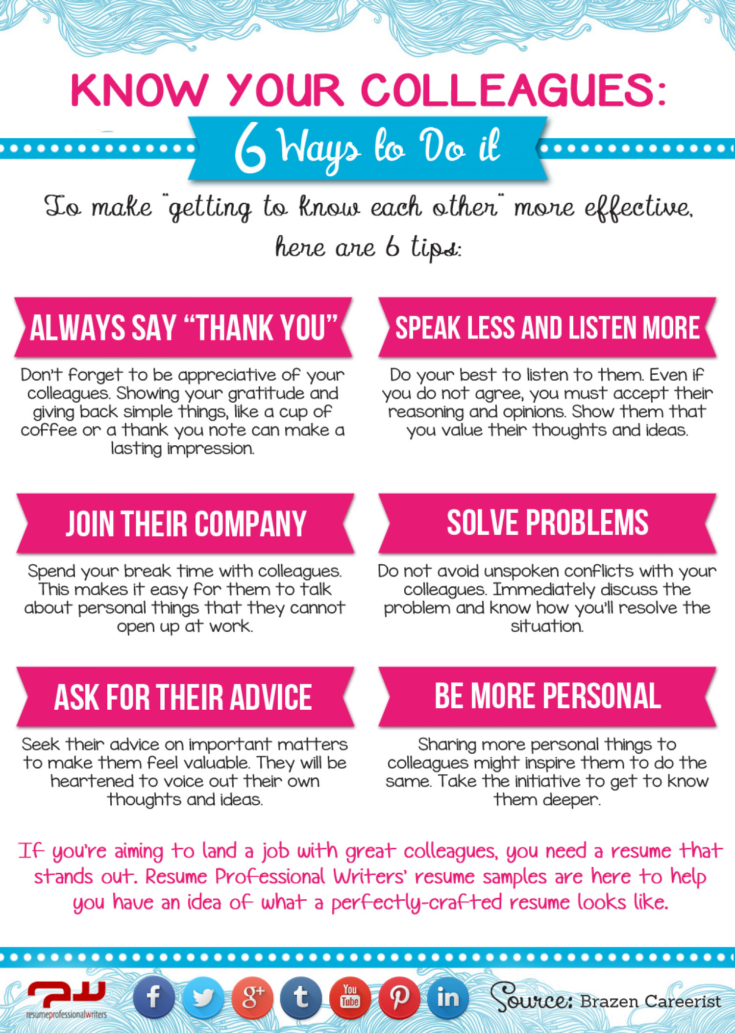 Know your colleagues 6 ways to do it infographics infographic