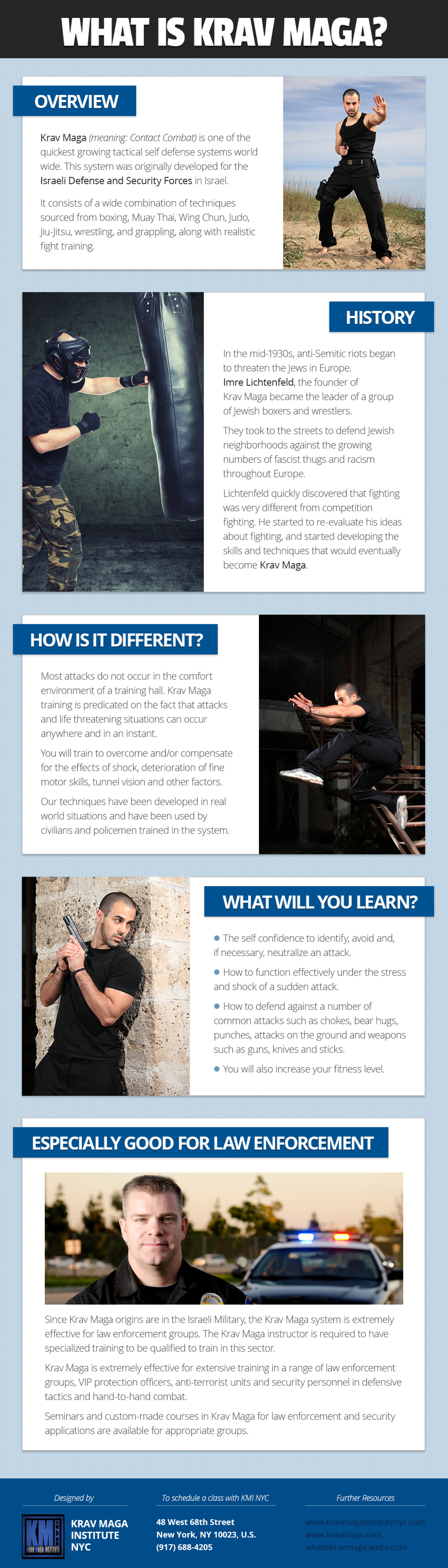 Krav Maga Self Defense System for Law Enforcment Infographic