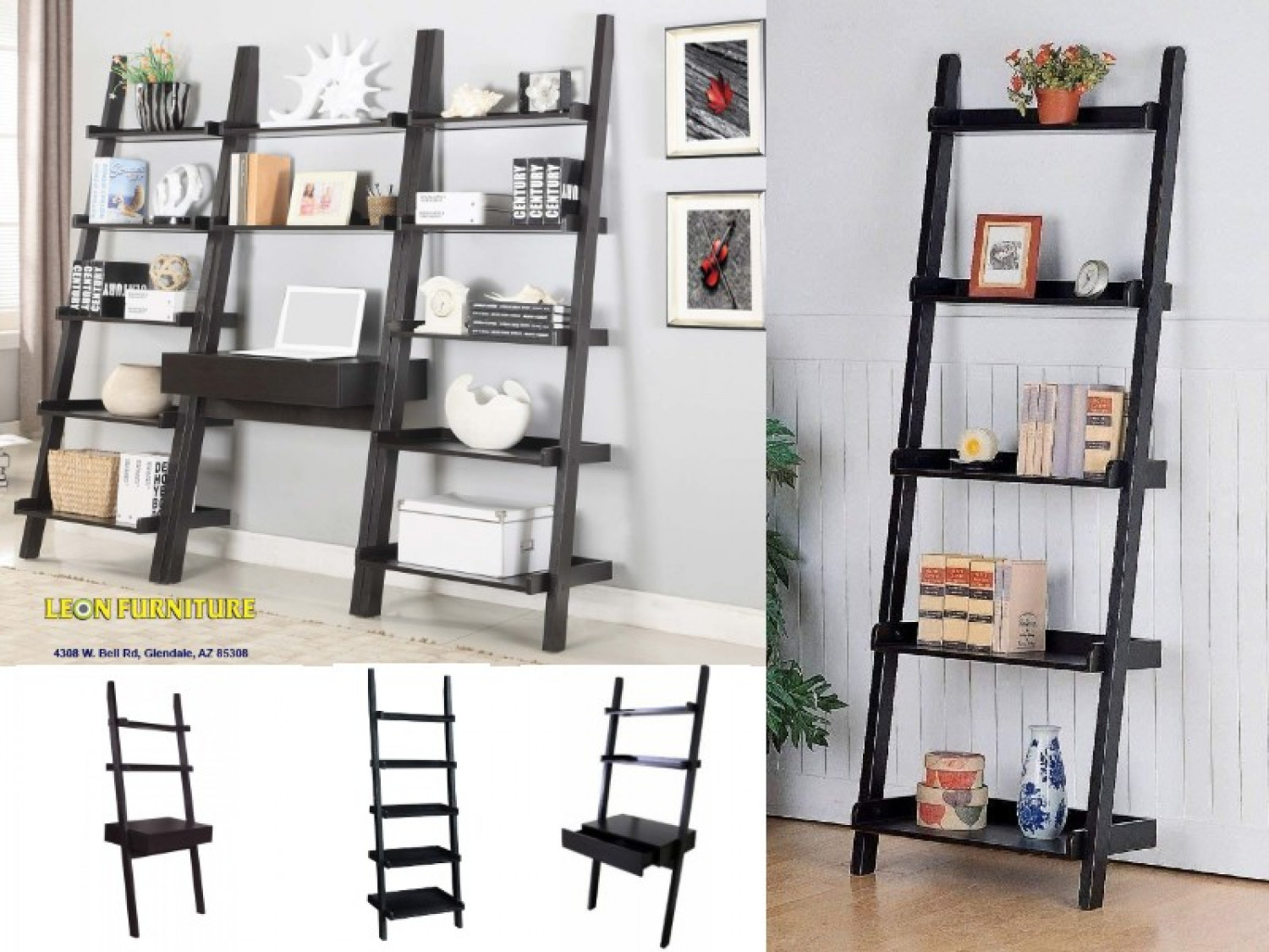 LADDER DESK AND 2 LADDER BOOKCASES Infographic