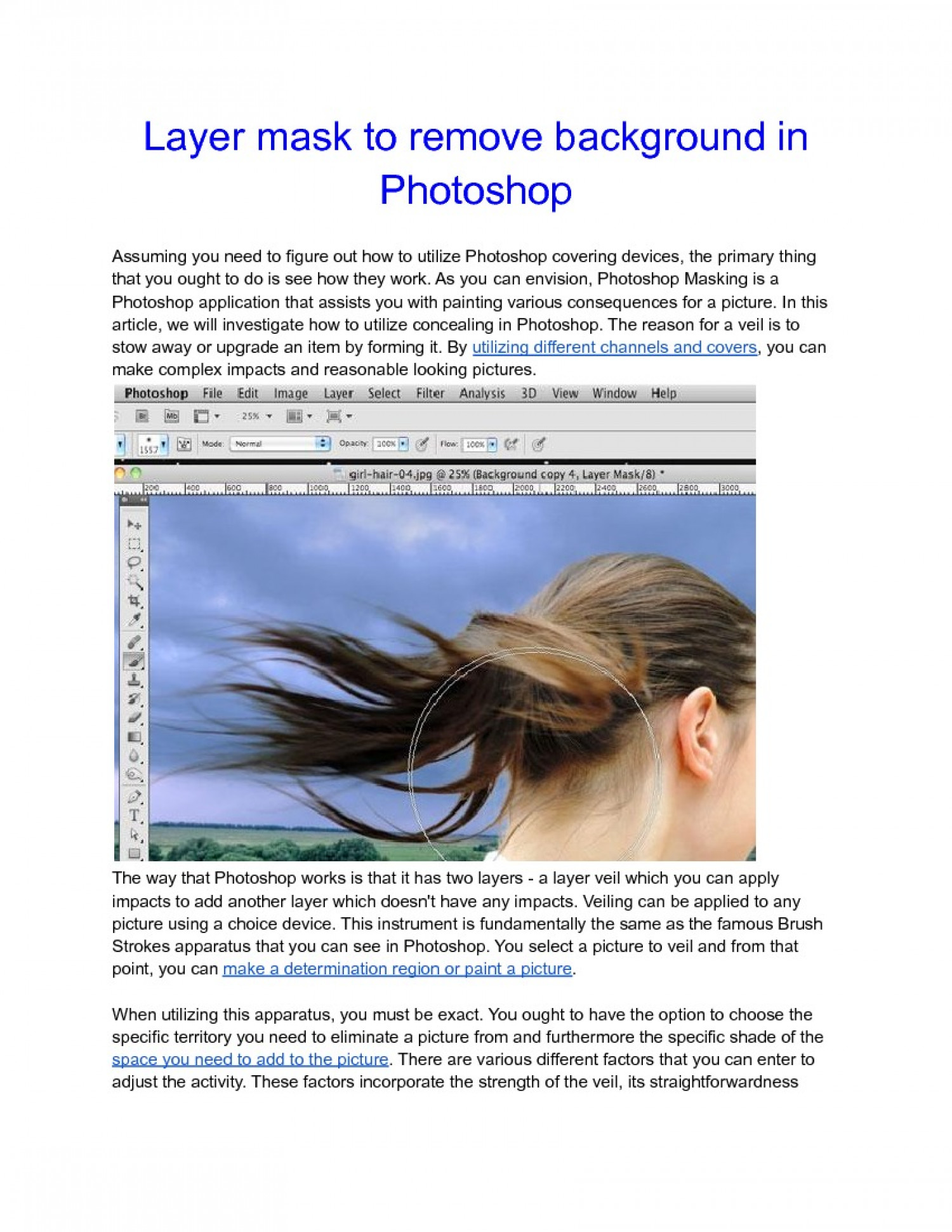 Layer mask to remove background in Photoshop Infographic