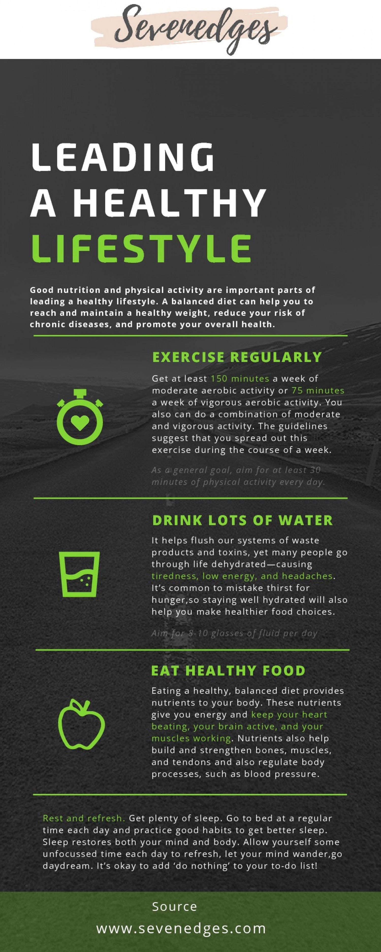Leading A Healthy Lifestyle Infographic