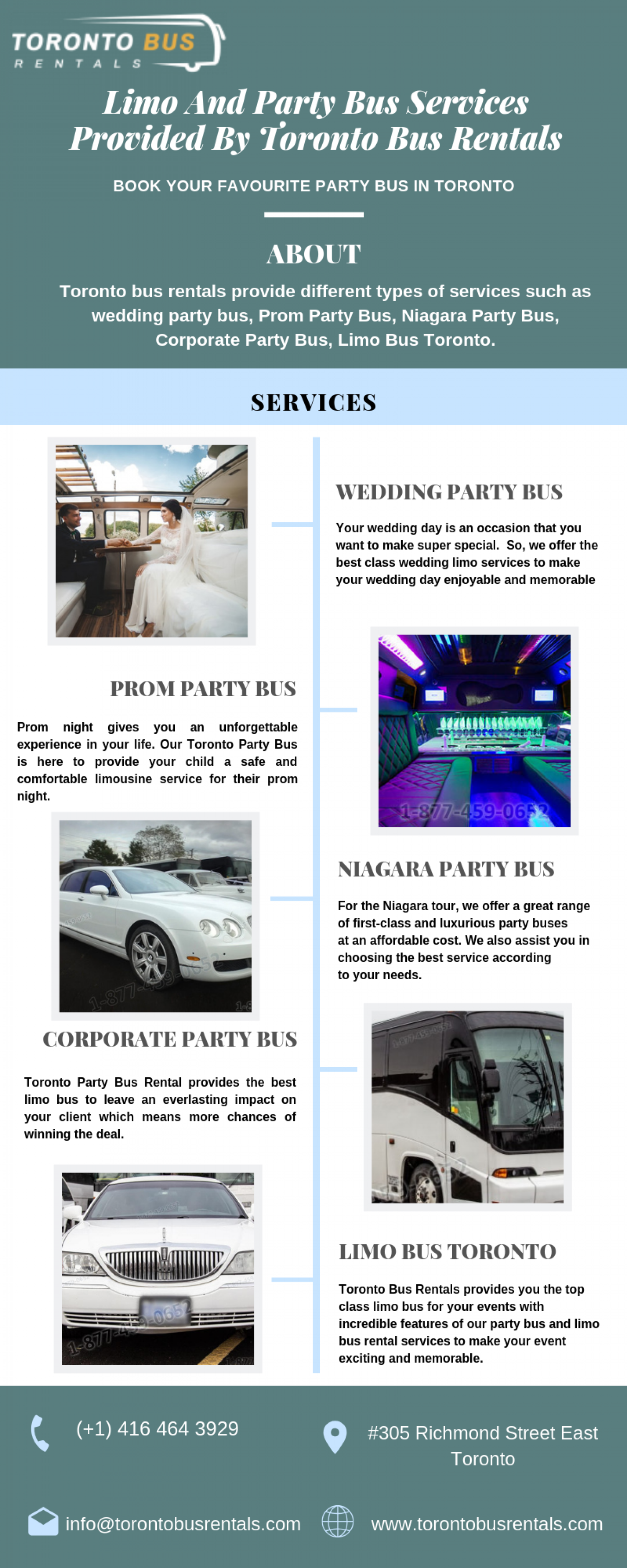 Limo and Party Bus Services Provided by Toronto Bus Rentals Infographic