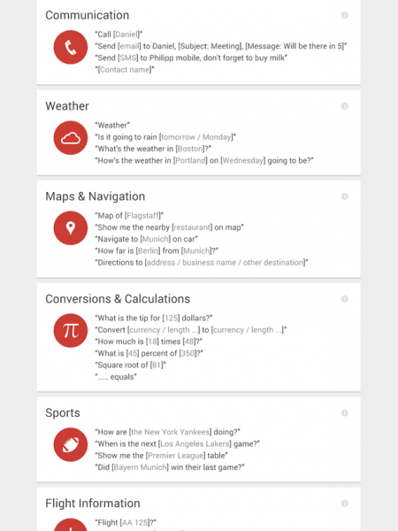 List of Google Now Voice Commands Infographic