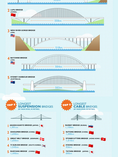 Longest and tallest bridges Infographic