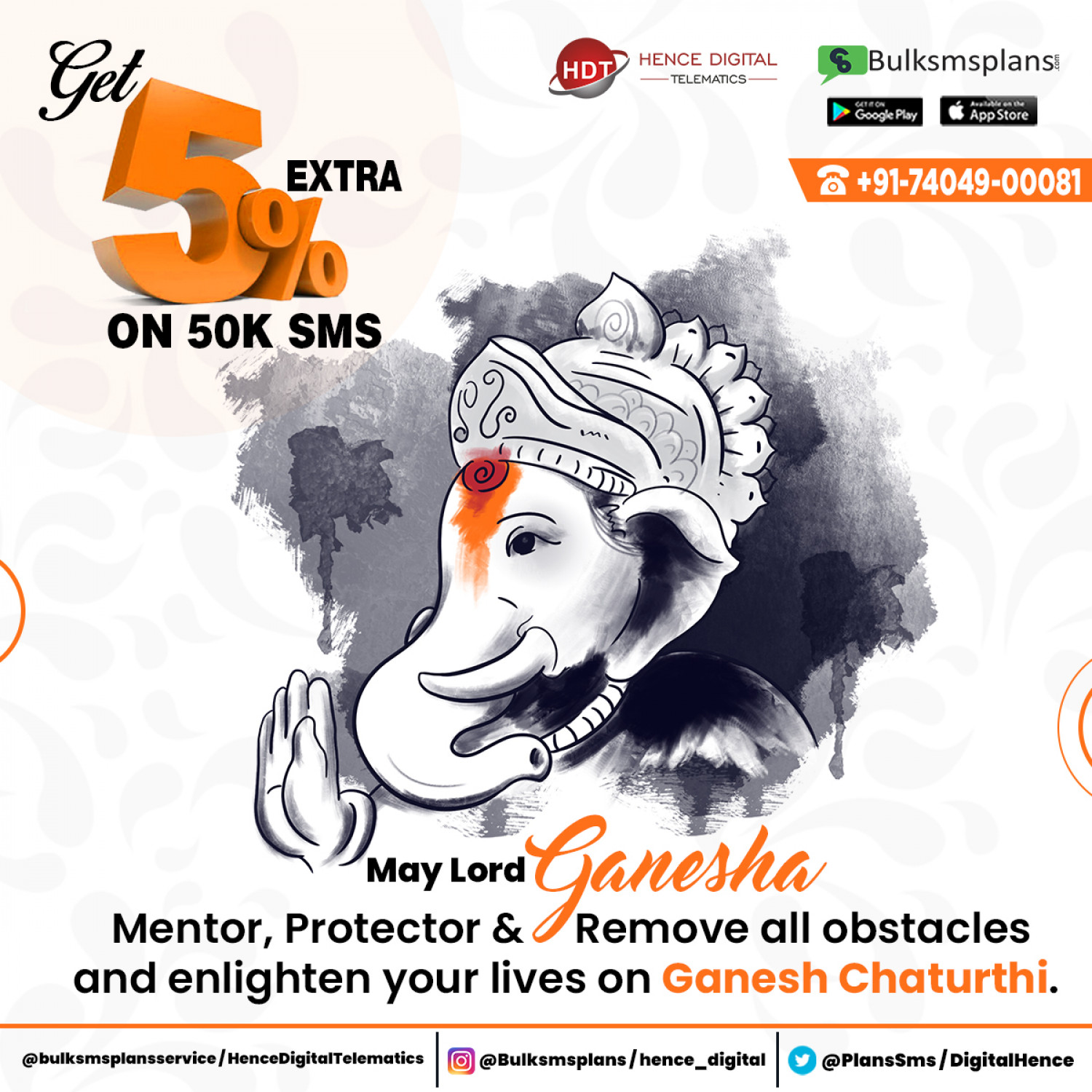Lord Ganesha mentor, protector & remove all obstacles & enlighten your lives on Ganesh Chaturthi Infographic