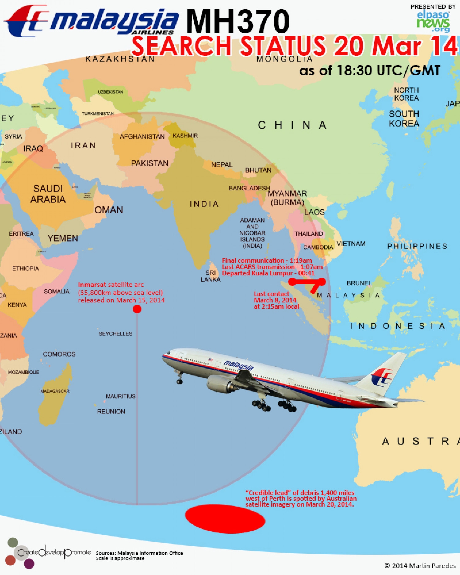 Malaysian Airlines MH370 March 20, 2014 Search Status Infographic