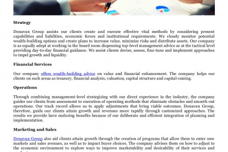 Management Consulting Services of Donavan Group Asset Allocation in Singapore and Tokyo, Japan Infographic