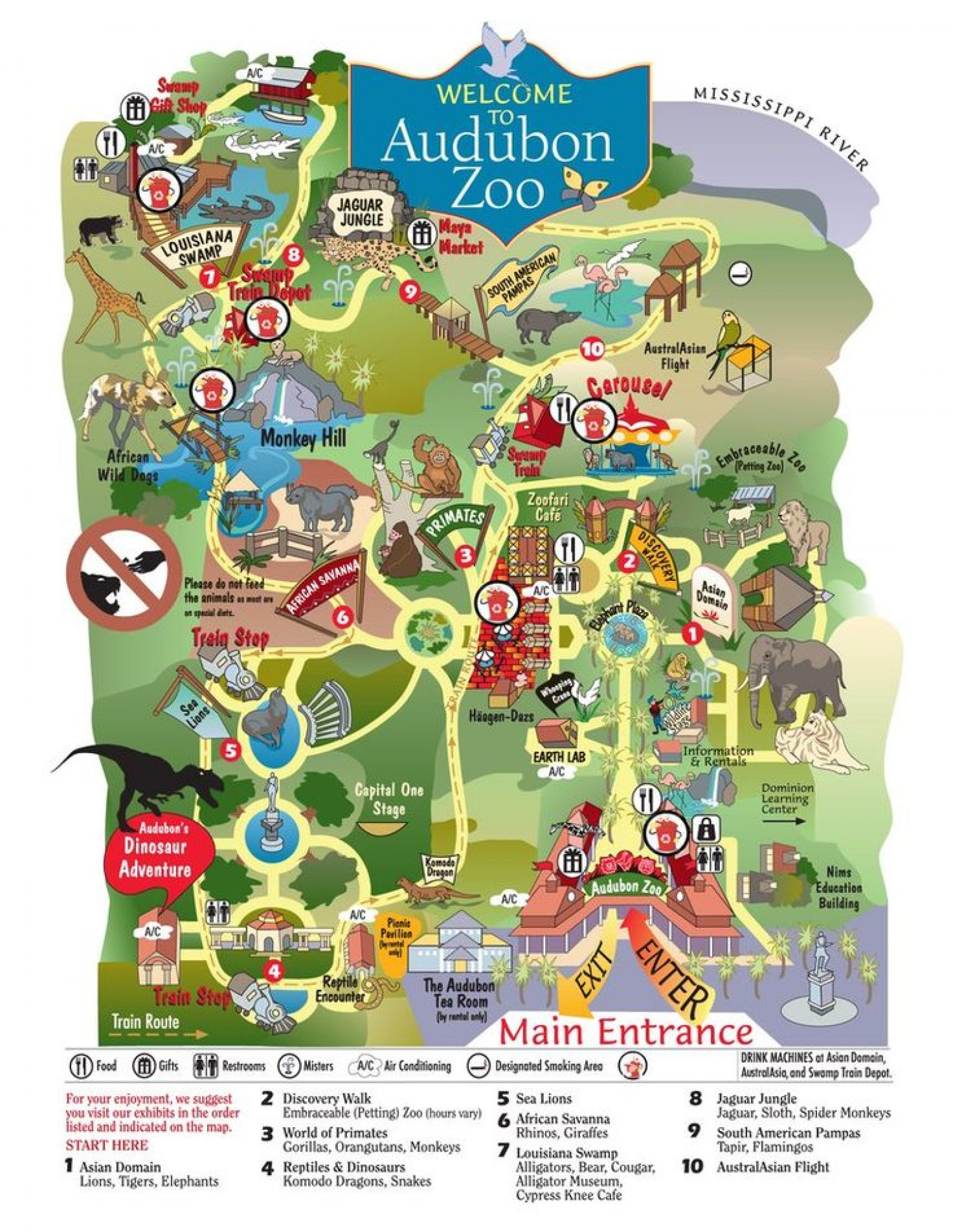 Map of the Audubon Zoo in New Orleans Infographic