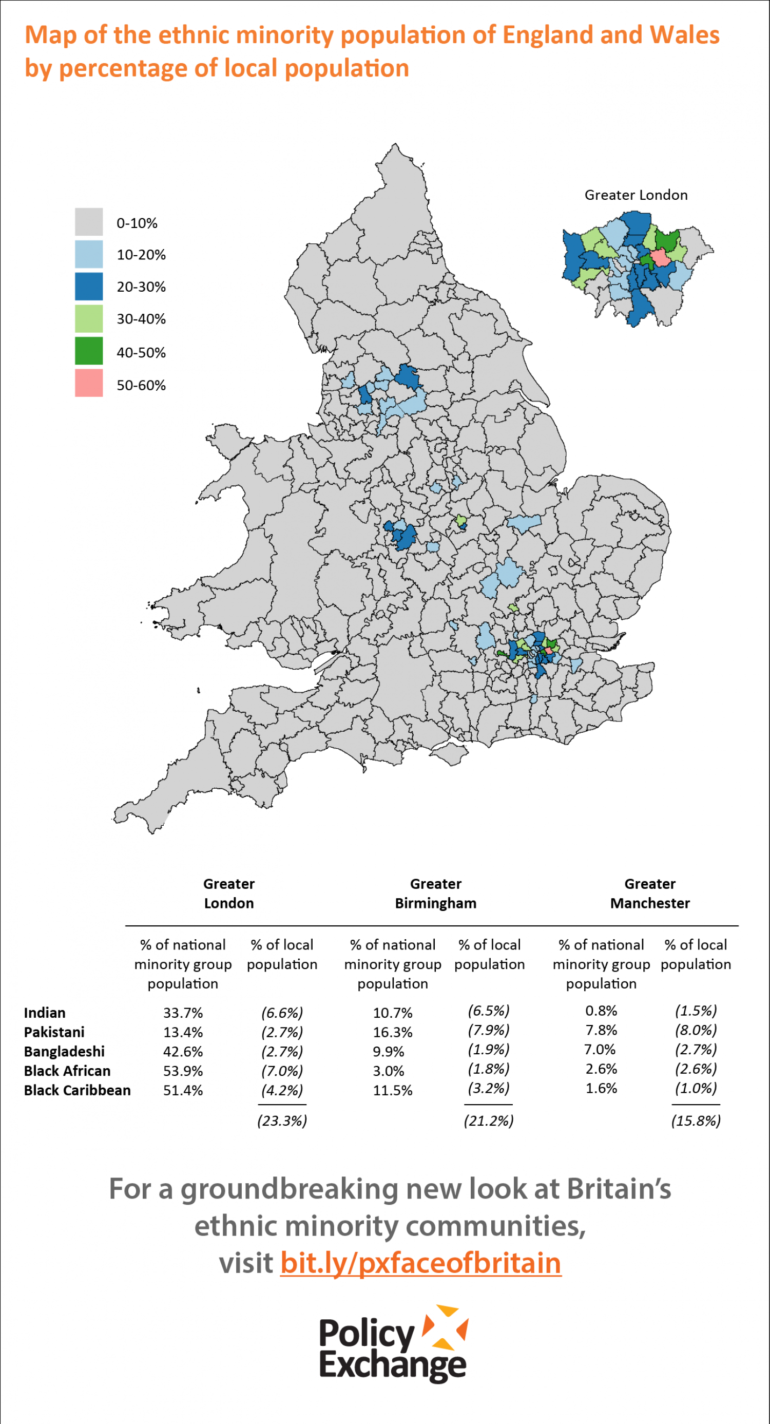 Map of the Ethnic Minority Population of England and Wales by Percentage of Local Population Infographic