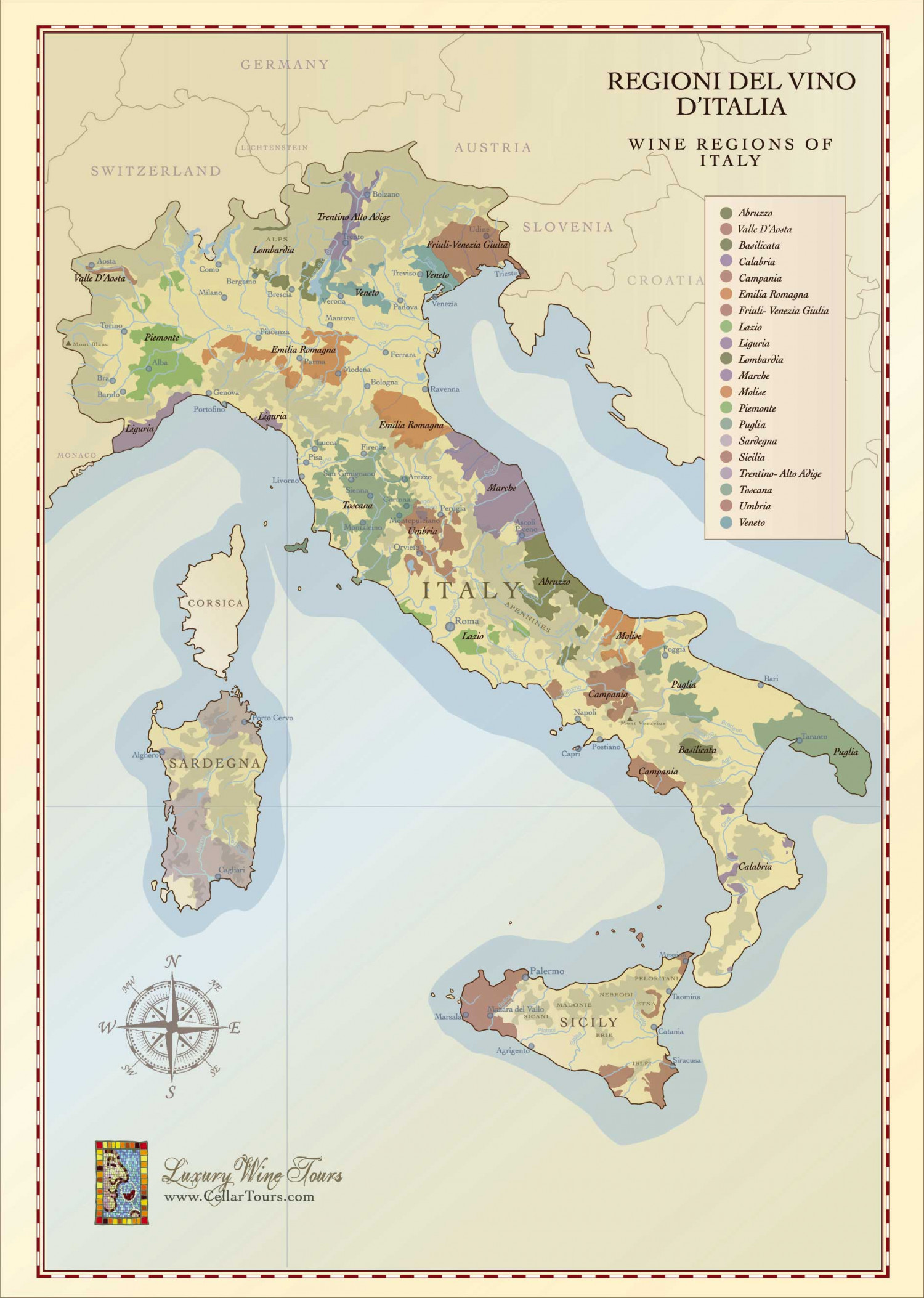 Map of the Italian Wine Regions Infographic