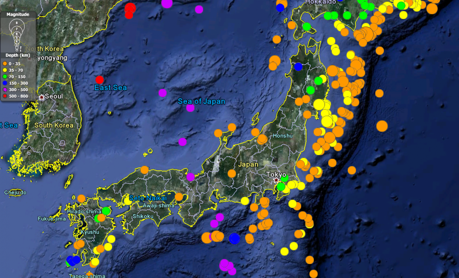Mapping Three Decades of Japanese Earthquakes Infographic