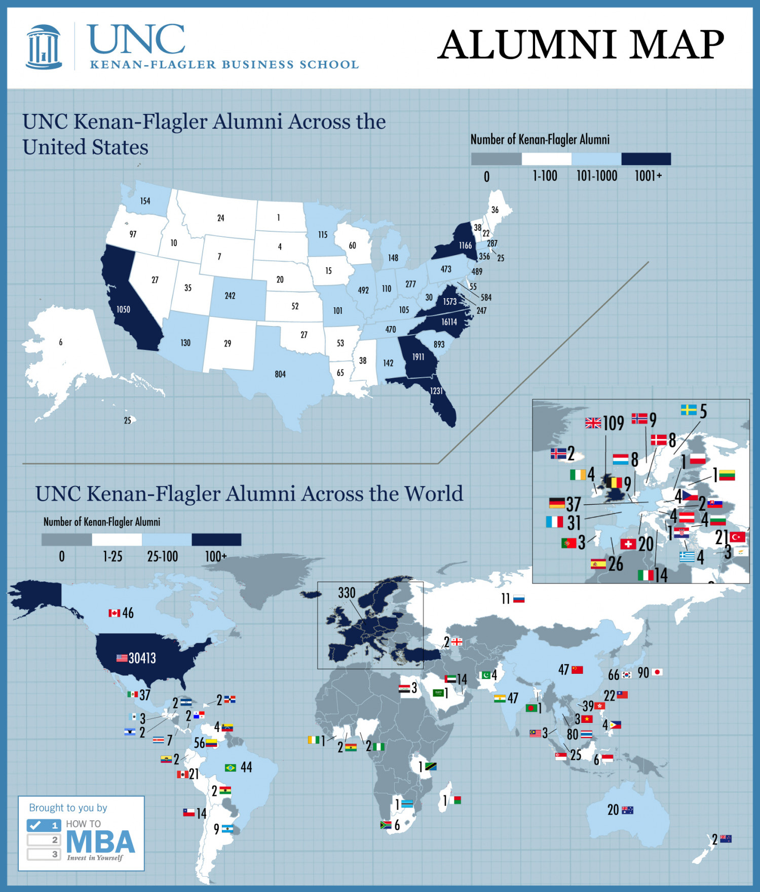 MBA@UNC Alumni Map Infographic