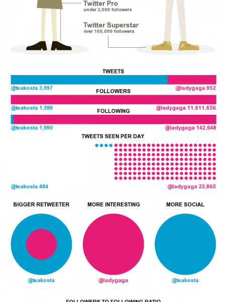 Me vs. Lady Gaga twitterized Infographic